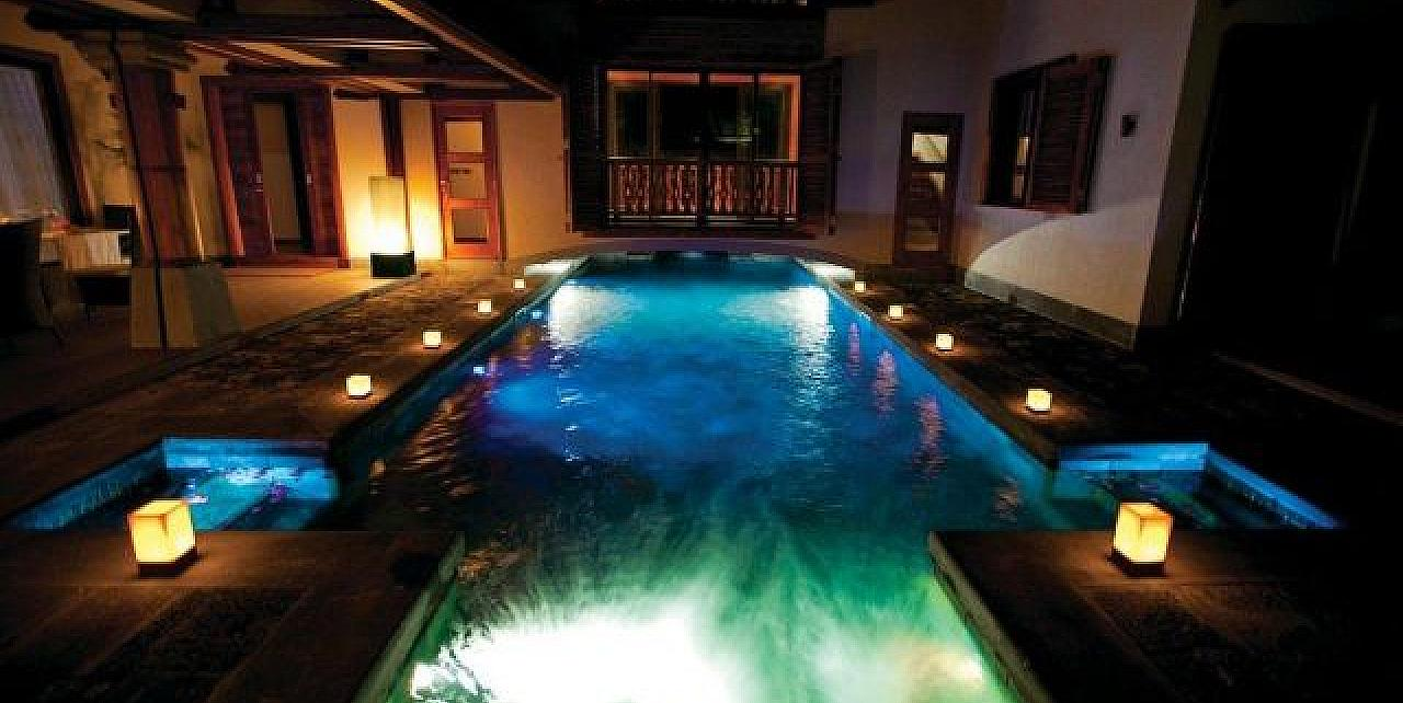 Mauritius, Villa Tiara and Pool at night